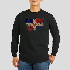 Dominican Republic Flag Long Sleeve Dark T-Shirt