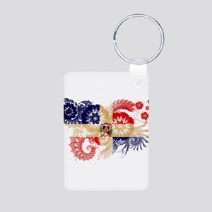 Dominican Republic Flag Aluminum Photo Keychain