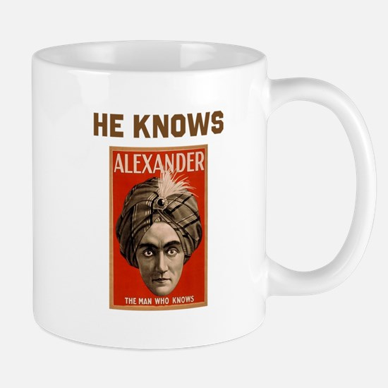 He Knows Mug