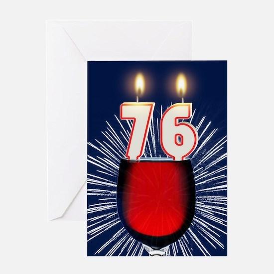 76th birthday wine and birthday candles Greeting C