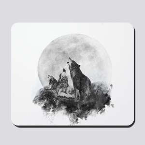 Three Wolves Howling at the Moon Mousepad