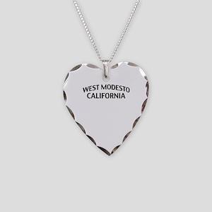 West Modesto California Necklace Heart Charm