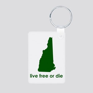GREEN Live Free or Die Aluminum Photo Keychain