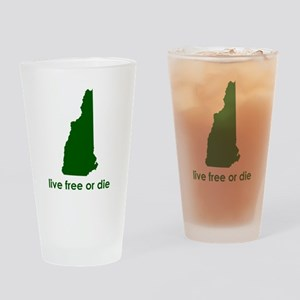 GREEN Live Free or Die Drinking Glass