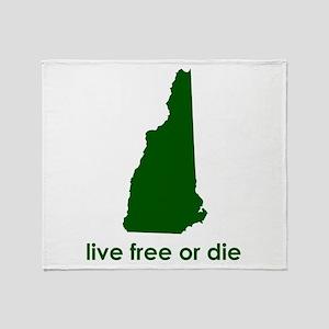 GREEN Live Free or Die Throw Blanket