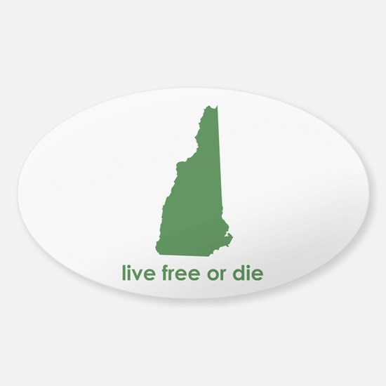 GREEN Live Free or Die Sticker (Oval)