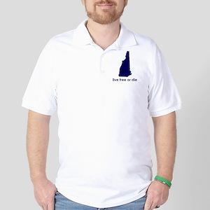 BLUE Live Free or Die Golf Shirt