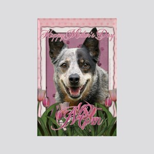 Mothers Day Pink Tulips Cattle Dog Rectangle Magne