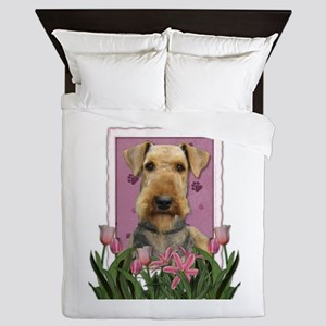 Mothers Day Pink Tulips Airedale Queen Duvet
