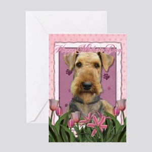 Mothers Day Pink Tulips Airedale Greeting Card