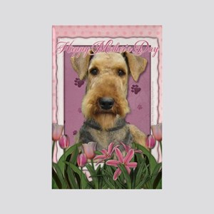 Mothers Day Pink Tulips Airedale Rectangle Magnet