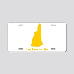 YELLOW Live Free or Die Aluminum License Plate