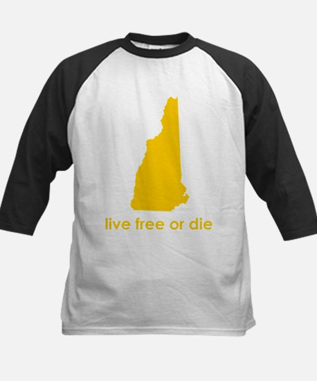 YELLOW Live Free or Die Kids Baseball Jersey