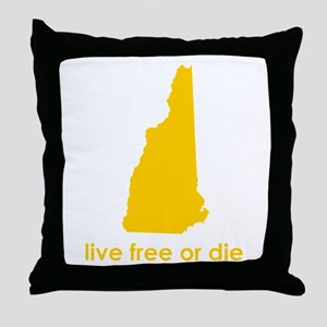 YELLOW Live Free or Die Throw Pillow