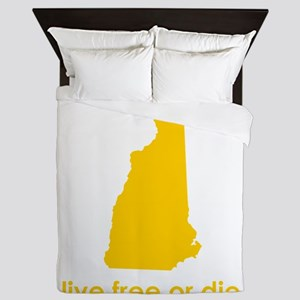 YELLOW Live Free or Die Queen Duvet