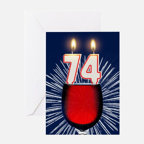 74th birthday wine and birthday candles Greeting C