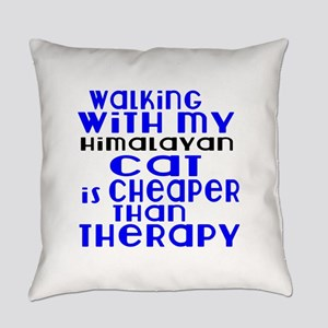 Walking With My Himalayan Cat Everyday Pillow