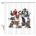 "Shower Curtain ""I love Cats"""