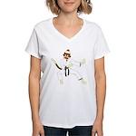Sock Monkey Karate Women's V-Neck T-Shirt