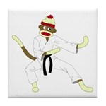 Sock Monkey Karate Tile Coaster