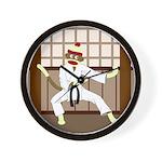Sock Monkey Karate Wall Clock