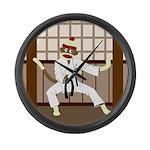 Sock Monkey Karate Large Wall Clock
