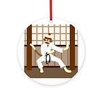 Sock Monkey Karate Ornament (Round)
