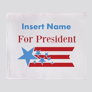 Personalized For President Throw Blanket