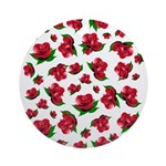 Red Rose Pattern Ornament (Round)