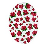 Red Rose Pattern Ornament (Oval)