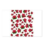 Red Rose Pattern Postcards (Package of 8)