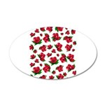 Red Rose Pattern 38.5 x 24.5 Oval Wall Peel