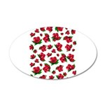 Red Rose Pattern 22x14 Oval Wall Peel