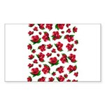Red Rose Pattern Sticker (Rectangle 10 pk)