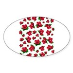 Red Rose Pattern Sticker (Oval)