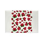 Red Rose Pattern Rectangle Magnet (10 pack)