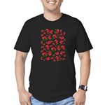 Red Rose Pattern Men's Fitted T-Shirt (dark)