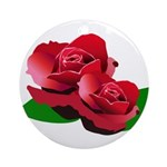 Two Red Roses Ornament (Round)