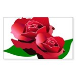 Two Red Roses Sticker (Rectangle 50 pk)