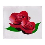 Two Red Roses Throw Blanket