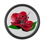 Two Red Roses Large Wall Clock
