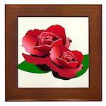 Two Red Roses Framed Tile