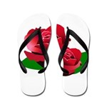 Two Red Roses Flip Flops