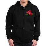 Two Red Roses Zip Hoodie (dark)