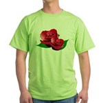 Two Red Roses Green T-Shirt