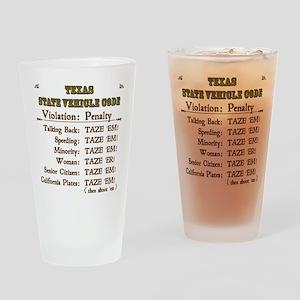 Texas Vehicle Code Drinking Glass