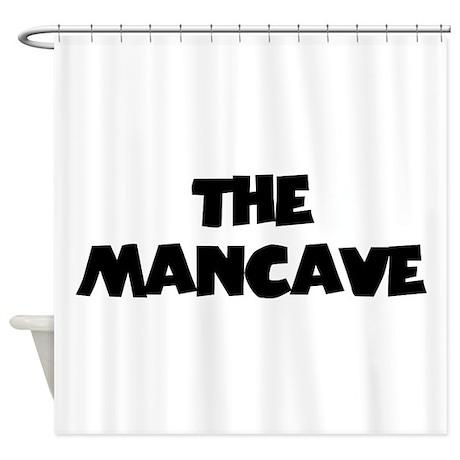 The Mancave (black) Shower Curtain