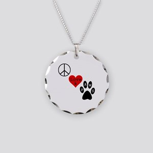 Peace Love & Paws Necklace Circle Charm