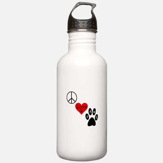 Peace Love & Paws Water Bottle