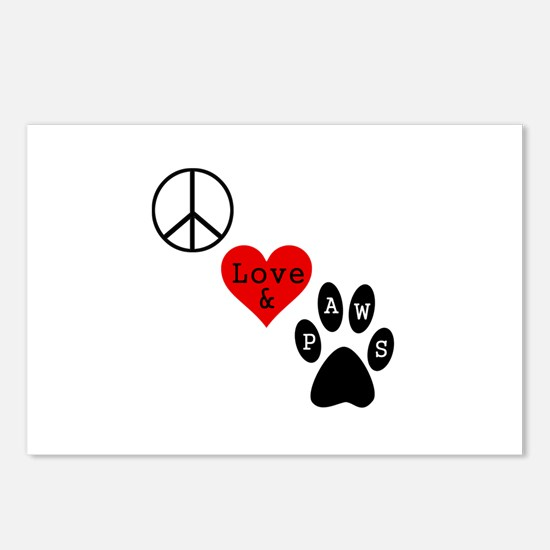Peace Love & Paws Postcards (Package of 8)